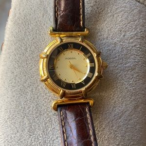 FOSSIL Vintage Gold Brown Leather Band Watch